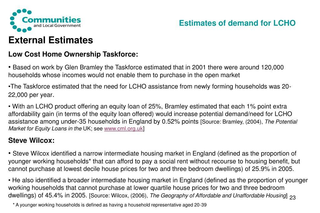 Estimates of demand for LCHO