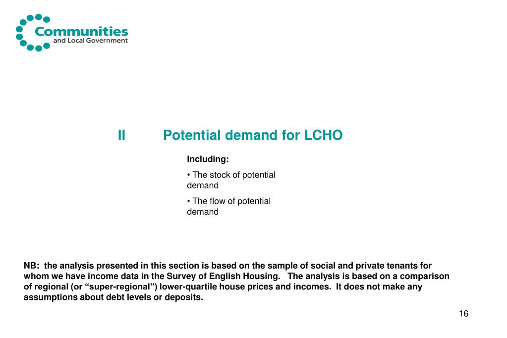 II Potential demand for LCHO