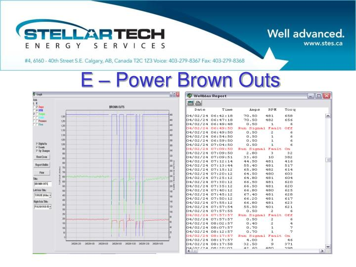 E – Power Brown Outs