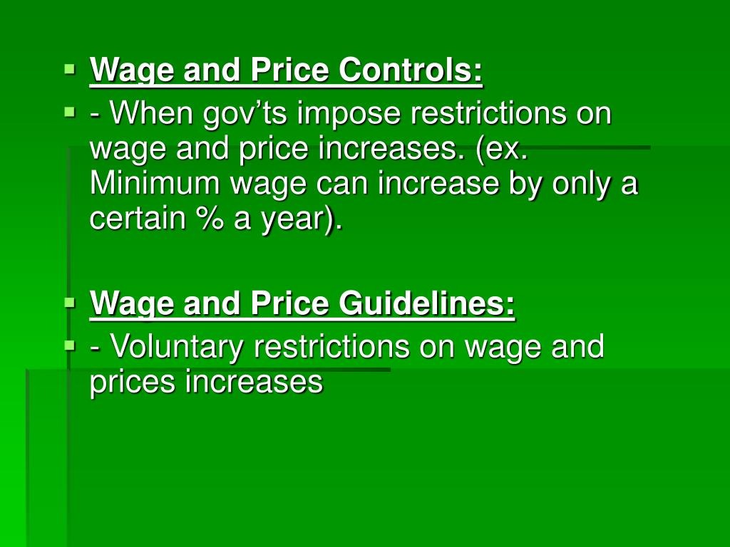 Wage and Price Controls: