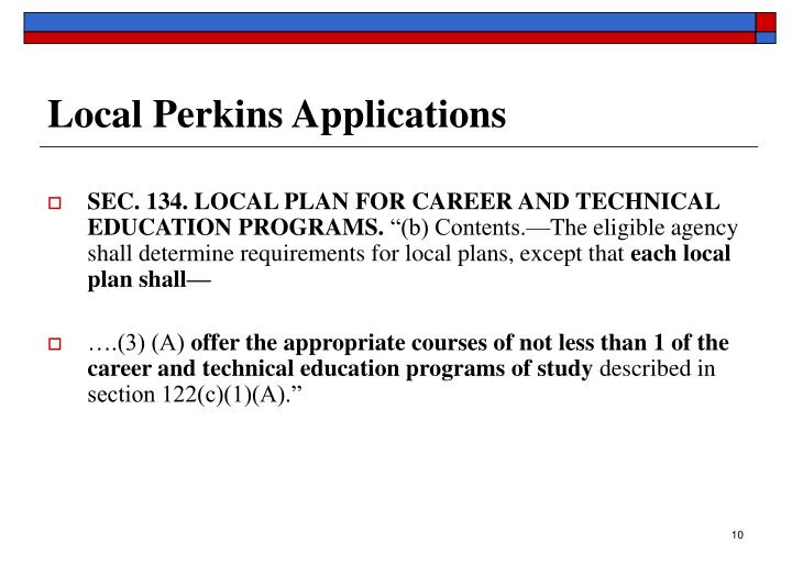 Local Perkins Applications
