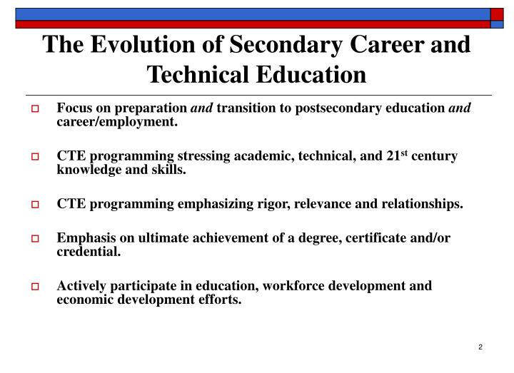 The evolution of secondary career and technical education