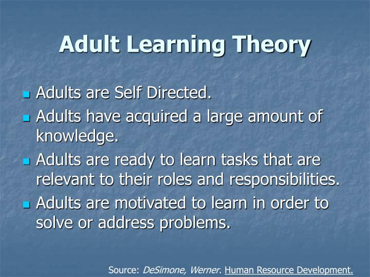 adult learning theories the self directed of Learning theory 6 consistently integrated in the mind-set of self-directed adult learners the concept of motivation seems to be an umbrella under which the majority of the assumptions of the.