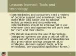lessons learned tools and technology