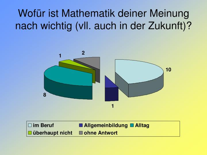 Wofür ist Mathematik deiner Meinung nach wichtig (vll. auch in der Zukunft)?