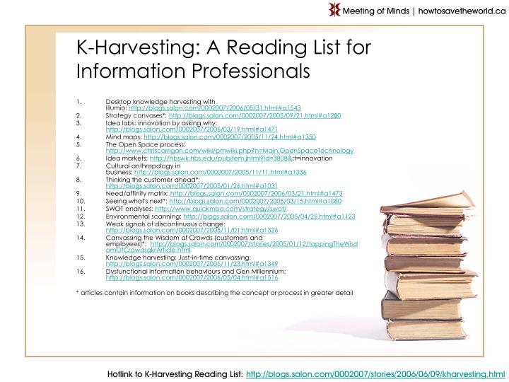 K harvesting a reading list for information professionals