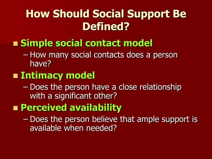 How Should Social Support Be Defined?