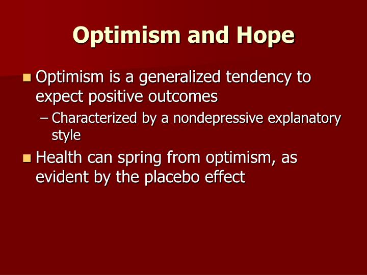 Optimism and Hope