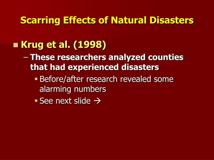 Scarring Effects of Natural Disasters