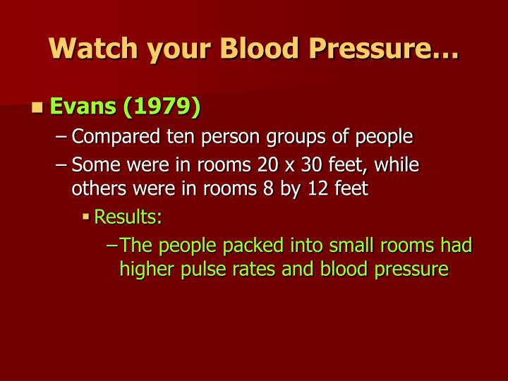 Watch your Blood Pressure…