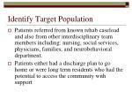 identify target population