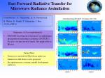 fast forward radiative transfer for microwave radiance assimilation