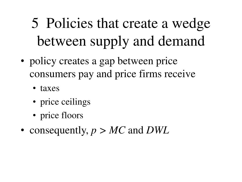 5  Policies that create a wedge between supply and demand