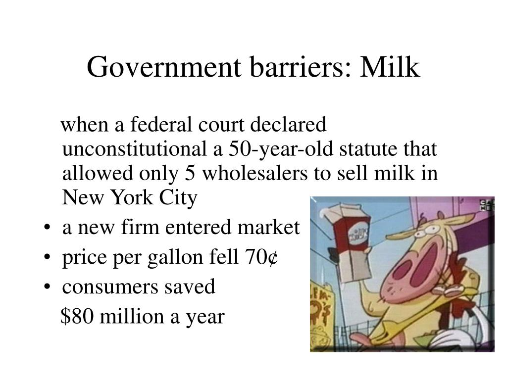 Government barriers: Milk