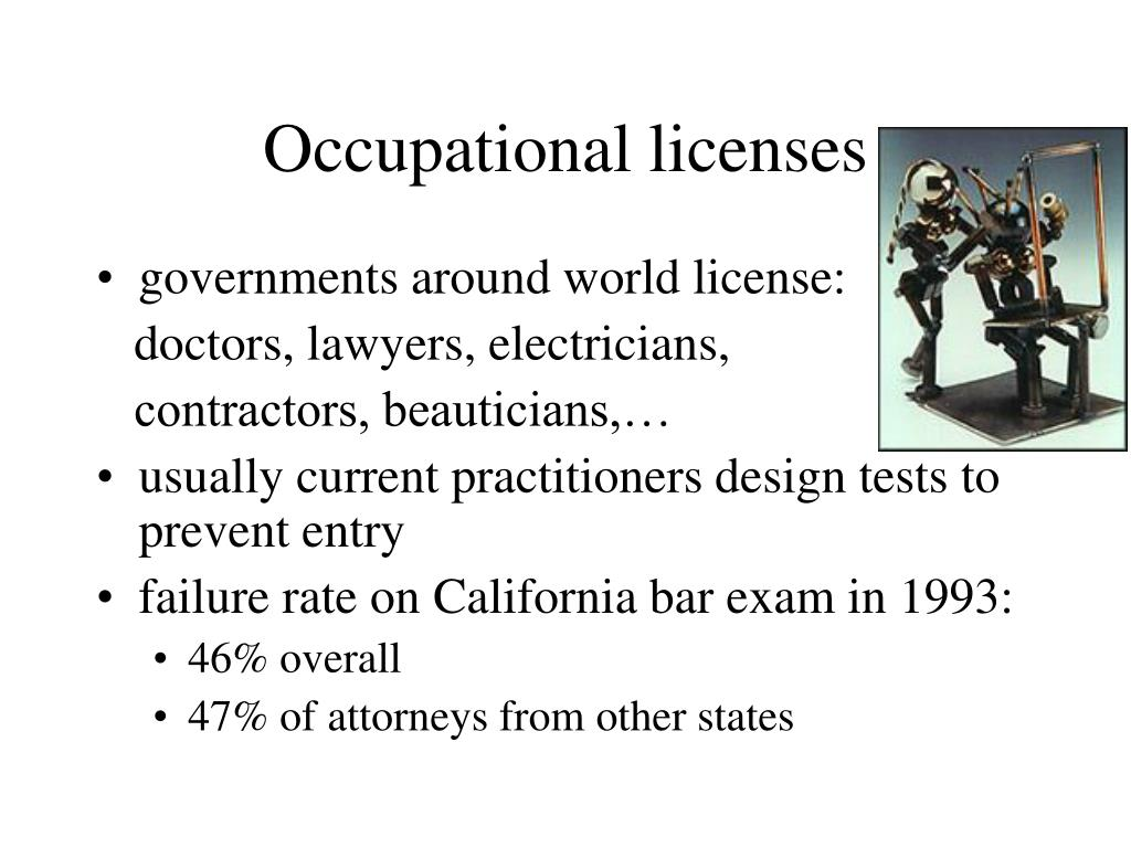 Occupational licenses
