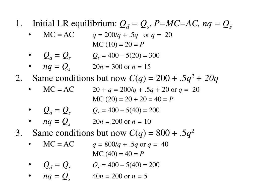 Initial LR equilibrium: