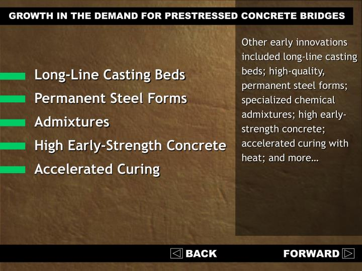 GROWTH IN THE DEMAND FOR PRESTRESSED CONCRETE BRIDGES
