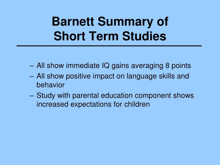 Barnett Summary of