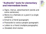 authentic texts for elementary and intermediate levels