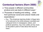 contextual factors kern 2000
