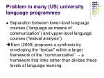 problem in many us university language programmes