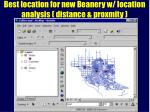 best location for new beanery w location analysis distance proxmity