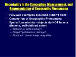 uncertainty in the conception measuremen t and representation of geographic phenomena