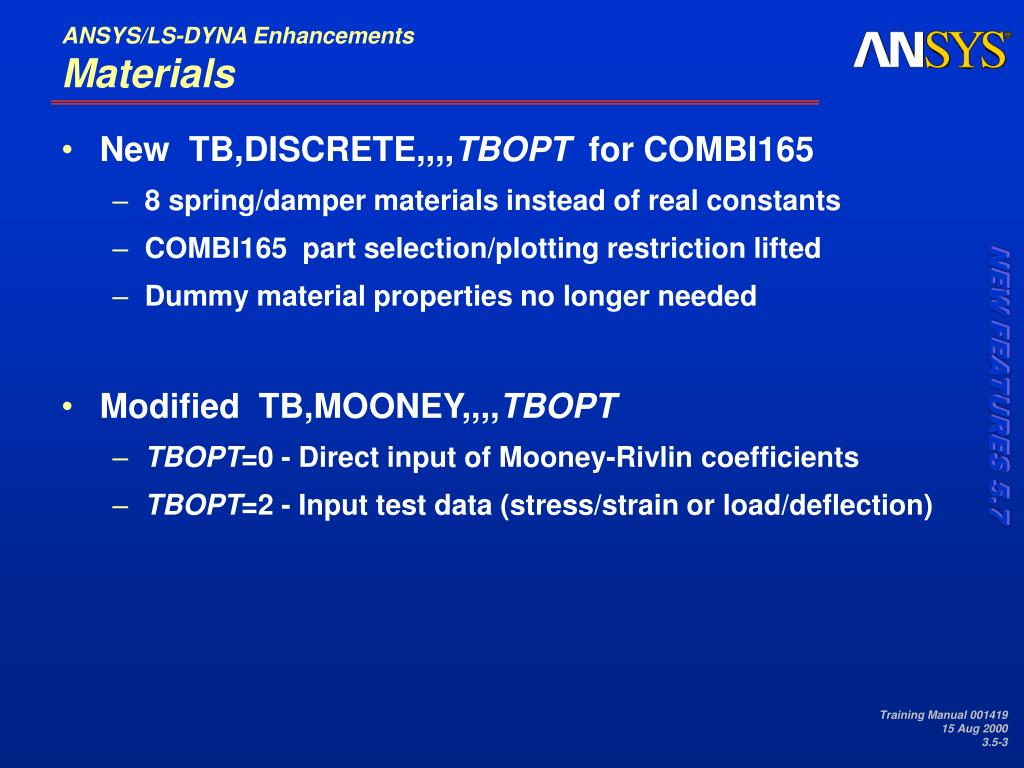 PPT - 3 5 ANSYS/LS-DYNA Enhancements PowerPoint Presentation - ID:491402