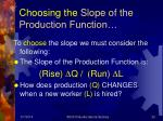 choosing the slope of the production function