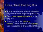 firms plan in the long run