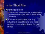 in the short run