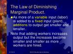 the law of diminishing marginal product