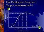 the production function output increases with l