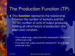 the production function tp