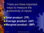 there are three important ways to measure the productivity of inputs