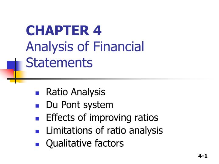 chapter 4 analysis of financial statements n.