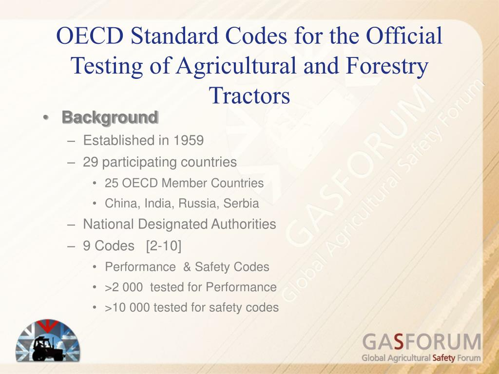 OECD Standard Codes for the Official Testing of Agricultural and Forestry Tractors