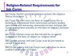 religion related requirements for job corps