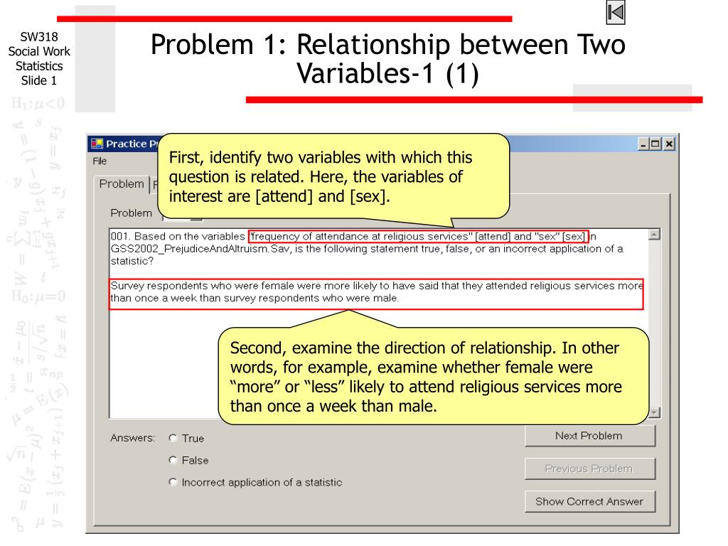 problem 1 relationship between two variables 1 1 l.