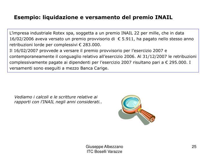 Esempio: liquidazione e versamento del premio INAIL