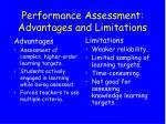 performance assessment advantages and limitations