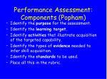 performance assessment components popham