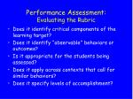 performance assessment evaluating the rubric