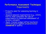 performance assessment techniques experiments