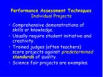 performance assessment techniques individual projects