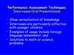 performance assessment techniques interviews oral presentations