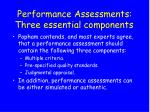 performance assessments three essential components