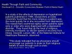 health through faith and community overhead 3 2 scientific connections between faith mental heath9