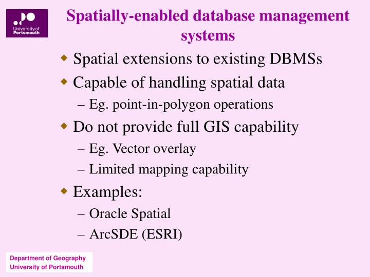 Spatially-enabled database management systems
