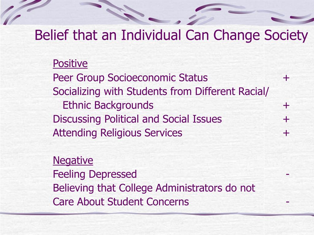 Belief that an Individual Can Change Society